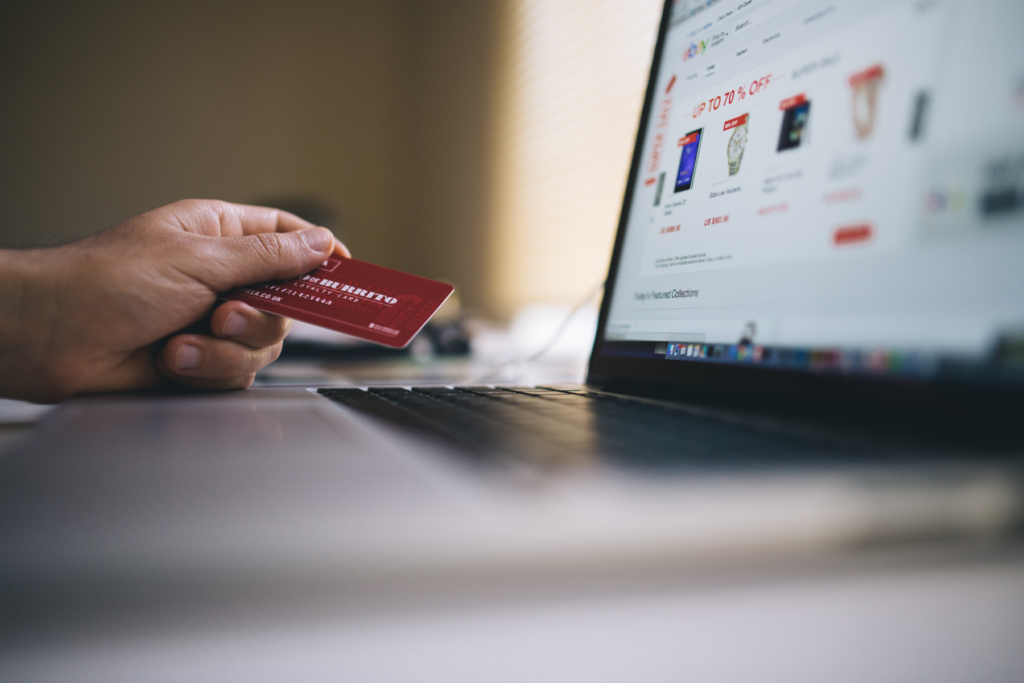 shopping online with laptop